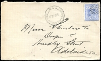 Lot 1135:1427: '1427' BN on 2d blue tied by 'BROKEN HILL RAILWAY TOWN/3JA1907/N.S.W' (A2) on Shierlaw cover front.  Allocated to Broken Hill R.S.-PO 16/7/1888; renamed Broken Hill Railway Town PO 1/3/1905.
