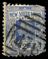 Lot 1143:1476: BN (4B) on 2d blue (faulty). [Rated 3R]  Allocated to Yass R.S.-PO 16/7/1889; renamed Yass Junction PO 1/3/1892; closed 30/4/1953.