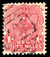 Lot 1147:1498: '1498' BN on 1d Arms. [Rated 4R - the first offered by us.]  Allocated to Lower Yammatree-PO 16/10/1889; RO 1/11/1916; PO 1/7/1927; closed 31/10/1930.