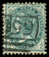 Lot 1148:1499: '[1]499' BN on ½d green. [Rated 3R - the first offered by us.]  Allocated to Ben Bullen-RO 10/8/1885; PO 1/11/1889; closed 6/3/1965.