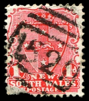Lot 1152:1521: BN on 1d Arms (faulty corner). [Rated 3R - a B1 copy sold for $170 in sale 107]  Allocated to Liddell-PO 16/1/1890; closed 30/4/1931.