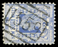 Lot 1158:1559: BN on 2d blue. [Rated 3R]  Allocated to North Springwood-PO 1/8/1890; closed 21/6/1930.