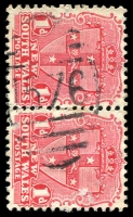 Lot 1162:1576: BN on 1d Arms pair. [Rated 3R]  Allocated to Upper Rolland's Plains-PO 1/11/1890; closed 25/11/1969.