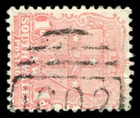 Lot 1166:1602: '1602' on 1d Arms. [Rated 3R - the first offered by us.]  Allocated to Duri-RO 1/9/1888; PO 1/4/1891; RO 2/1/1911; PO 1/4/1911.