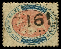Lot 1009:161: rays (2R21) on 6d orange & blue Registered P12½.  Allocated to Aberdeen-PO 1/8/1856; closed c.-/2/1860.
