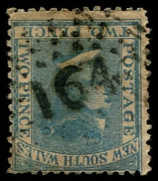 Lot 1010:164: rays (2R20) on 2d blue DLR. [Rated 3R]  Allocated to Stoney Creek-PO 1/10/1856; renamed Ironbarks PO 1/7/1858; renamed Stuart Town PO 7/2/1889.