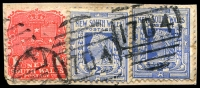 Lot 1176:1704: 2 strikes of BN on 1d Arms & 2d blue x2, 2 other part strikes alongside. [Rated 4R]  Allocated to Myrtle Creek-PO 1/5/1893; closed 6/7/1962.