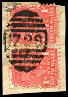 Lot 6399:1799: '1799' on 1d Arms pair. [Rated 3R]  Allocated to Eltham-Renamed from Midgeegrass RO 1/10/1894; PO 1/6/1896; closed 31/1/1974.