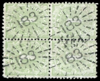 Lot 1016:183: 4 strikes of rays (3R16) on 1d green Postage Due block of 4.  Allocated to Paddington-PO 1/7/1851.