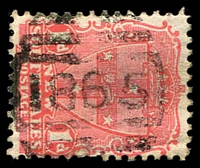 Lot 6410:1865: BN on 1d Arms. [Rated 3R]  Allocated to The Dairy-PO 1/2/1898; renamed Holroyd PO 14/3/1898; renamed Merrylands PO 1/6/1912.