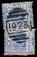 Lot 1204:1923: BN on 2d blue x2 on piece. [Rated 3R - the first offered by us.]  Allocated to Wagonga-PO 16/7/1896; closed 8/2/1946.