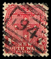 Lot 1209:1947: BN on 1d Arms. [Rated 4R - the first offered by us.]  Allocated to Military Road-PO 1/8/1899; renamed Watersleigh PO 1/12/1918.