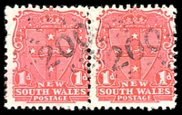 Lot 925:200: 2 strikes of rays (2R18) on 1d Arms pair. [Rated R]  Allocated to Bandon Grove-PO 1/1/1858; TO 6/2/1956; PO 2/1/1959; TO 1/2/1974; closed 26/1/1977.
