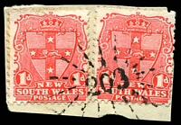 Lot 927:203: rays (3R16) on 1d Arms x2. [Rated 2R]  Allocated to Caloola-PO 1/1/1858; closed 31/7/1931.