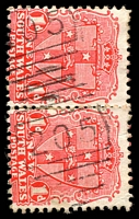 Lot 929:205: 2 partly overlapping strikes of BN on 1d Arms pair. [Rated R]  Allocated to Obley-PO 1/1/1858; TO 1/9/1948; closed 30/6/1961.