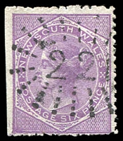 Lot 948:221: rays (2R19) on 6d DLR (trimmed perfs). [Rated 3R]  Allocated to Hunter's Hill-PO 1/6/1858.