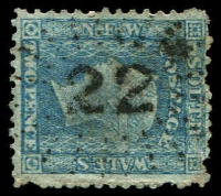 Lot 979:22: rays (2R20) on 2d blue Diadem. [Rated R]  Allocated to Appin-PO 1/2/1841; closed c.1992.