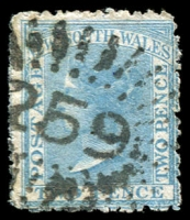 Lot 1035:259: '259' rays on 2d blue DLR. [Rated 4R - the first offered by us.]  Allocated to Merrendee-PO 1/7/1859; renamed Merindee PO c.1879; closed 20/12/1919.