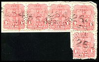 Lot 985:264: 5 strikes of rays (2R31) on 1d Arms x5. [Rated R]  Allocated to Colo-PO 1/8/1861; renamed Upper Colo PO 1/9/1883; closed 1/5/1970.