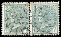 Lot 987:265: 2 strikes of rays (3R16) on ½d green pair.  Allocated to Moulamein-PO 1/9/1859.