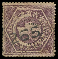 Lot 986:265: rays (2R43) on 6d brown Diadem. [Rated R]  Allocated to Moulamein-PO 1/9/1859.