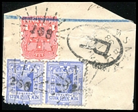 Lot 990:268: 3 strikes of rays (3R16) on 1d Arms & 2d blue pair, tied by unframed 'TIMBARRA/DE1/1898/N.S.W' (B2). [Rated 3R]  Allocated to Tableland-PO 1/8/1859; renamed Timbarra PO 1/8/1867; closed 6/10/1922.