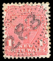 Lot 1006:283: rays (2R35) on 1d Arms. [Rated 3R]  Allocated to Jones' Island-PO 1/1/1860; renamed Ghinni Ghinni PO 1/2/1868; TO 1/6/1960; closed 11/9/1967.