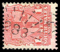Lot 1007:283: '283' rays (3R16) on 1d Arms. [Rated 2R]  Allocated to Jones' Island-PO 1/1/1860; renamed Ghinni Ghinni PO 1/2/1868; TO 1/6/1960; closed 11/9/1967.