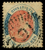 Lot 1038:291: '291' rays (2R39) on 6d red & blue Registered. [Rated 3R]  Allocated to Black Creek-PO 1/2/1860; renamed Branxton PO 15/7/1862.