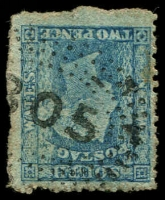 Lot 1043:305: '305' rays (2R38) on 2d blue DLR. [Rated 3R]  Allocated to Kiandra-PO 16/4/1860; closed 13/10/1969.