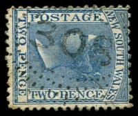 Lot 1045:308: rays (2R38) on 2d blue DLR. [Rated 3R - the first offered by us.]  Allocated to Upper Adelong-PO 1/8/1860; closed 31/7/1873.