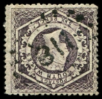 Lot 1046:311: rays (2R38) on 6d brown Diadem. [Rated 3R]  Allocated to Denham Court-PO 1/5/1862; closed 9/8/1882.