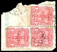 Lot 1061:369: 2 strikes of '369' rays (2R39) on 1d Arms x3 tied by small part of Yamba cds. [Rated SS]  Allocated to Clarence River Heads-PO 3/10/1862; renamed Yamba PO 1/6/1885.
