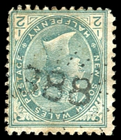 Lot 1073:388: rays (2R20) on ½d green. [Rated SS]  Allocated to Windellama-PO 1/6/1863; TO 1/5/1952; closed 2/12/1953.