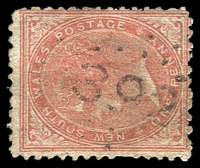 Lot 1075:392: '392' rays (2R20) on 1d DLR. [Rated 5R - the first offered by us.]  Allocated to Billabong-PO 1/8/1863; closed 31/3/1878.