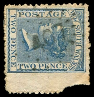 Lot 1057:407: rays (3R16) on 2d blue Diadem (with margin, corner fault). [Rated 3R]  Allocated to Woodville-PO 1/8/1864.