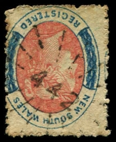 Lot 1061:442: rays on 6d red & blue registered. [Rated SS]  Allocated to Belford-PO 1/8/1865; closed 30/9/1968.