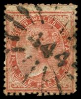 Lot 1062:444: rays (3R16) on 1d brown DLR. [Rated 3R]  Allocated to Terara-PO 1/8/1865; closed 9/12/1983.