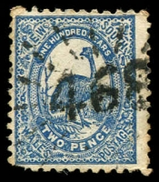 Lot 1122:468: '468' rays on 2d Centennial. [Rated 2R]  Allocated to Dunkeld-PO 1/2/1867; RO 1/11/1915; PO 1/7/1927; closed 15/1/1959.