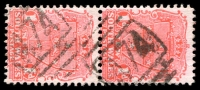 Lot 1126:474: 2 strikes of BN on 1d Arms pair. [Rated 2R]  Allocated to Fig Tree-PO 1/8/1867.