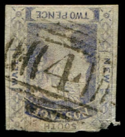 Lot 974:4: BN on 2d blue Laureate Imperf (faults). [Rated 3R]  Allocated to Richmond-PO 1/1/1844.