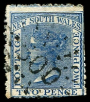 Lot 1067:500: '500' rays on 2d blue DLR. [Rated 3R]  Allocated to Mooroowoolen-PO 1/3/1868; renamed Marulan PO 1/8/1878.