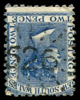 Lot 1068:526: rays on 2d blue DLR. [Rated 3R - the first offered by us.]  Allocated to McCollom's-PO 1/1/1869; renamed Robertson PO 1/2/1869.