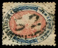 Lot 989:52: rays (2R38?) on 6d red & blue Registered. [Rated 3R]  Allocated to Moulamein-PO 1/10/1849; closed c.1851.