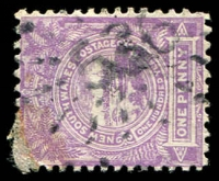 Lot 1071:536: '536' rays on 1d Centennial. [Rated 4R - the first offered by us.]  Allocated to Pyree-PO 1/5/1869; closed 31/12/1971.