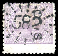 Lot 1182:582: rays on 6d DLR opt 'OS'.  Allocated to West Kempsey-PO 1/7/1870.