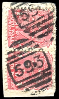 Lot 1196:593: 2 strikes of BN on 1d Arms pair. [Rated 2R]  Allocated to Forest Reefs-PO 1/10/1870; closed 15/11/1974.