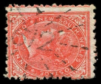 Lot 6123:612: rays on 1d orange DLR. [Rated R]  Allocated to Brown Mountain-PO 1/9/1871; renamed Lyttleton PO 1/3/1887; renamed Bemboka PO 16/8/1894.