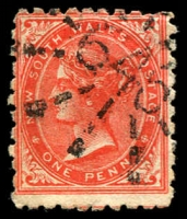 Lot 1224:646: '646' rays (3R12, 7x12½mm) on 1d DLR.  Allocated to Willow Tree-PO 1/8/1875; renamed Warrah PO 3/12/1877; renamed Willow Tree PO 1/1/1878; closed 30/6/2014.