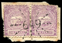 Lot 1227:649: rays on 1d Centennial pair. [Rated SS]  Allocated to Craigie-PO 15/8/1872; RO 19/8/1878; PO 16/4/1884; closed 14/1/1976.